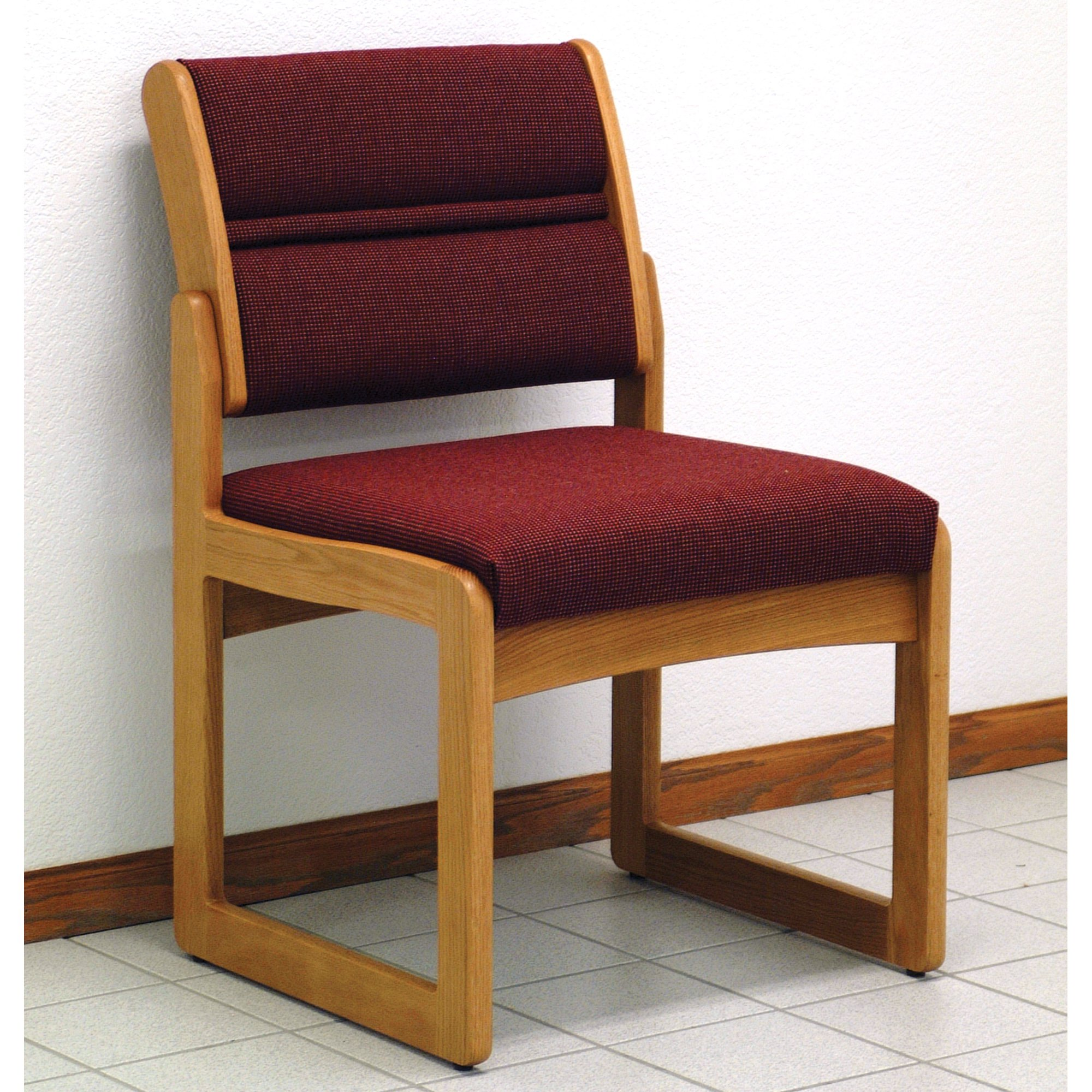 Wooden Mallet DW2-1 Solid Oak Sled Base Armless Guest Chair