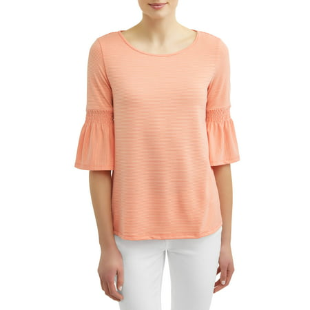 Smocked Woven Shirt - Women's Smocked Bell Sleeve Top