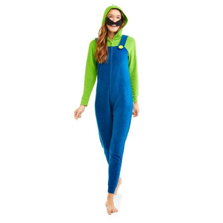 Super Mario Luigi Women's License Sleepwear Adult Costume Union Suit
