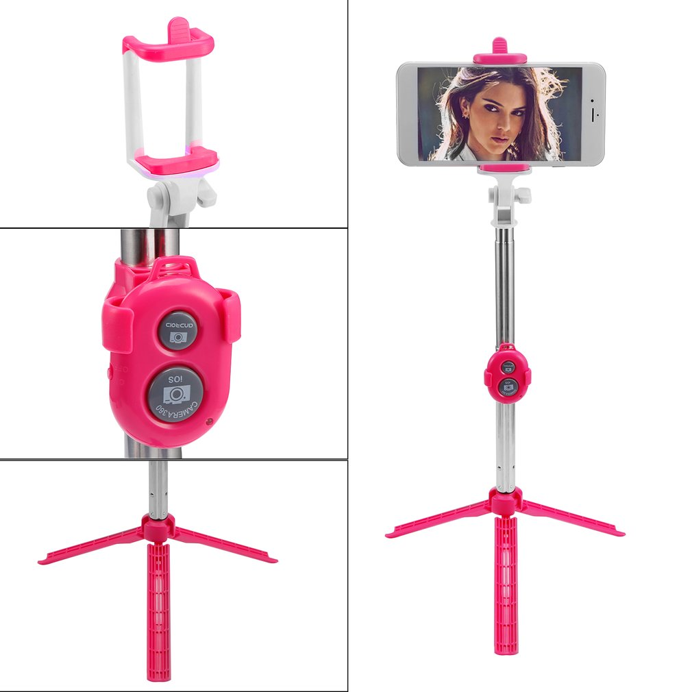 Hot Sale Stainless Steel Bluetooth Cell Phone Selfie Stick Monopod Tripod For Iphone, Pink