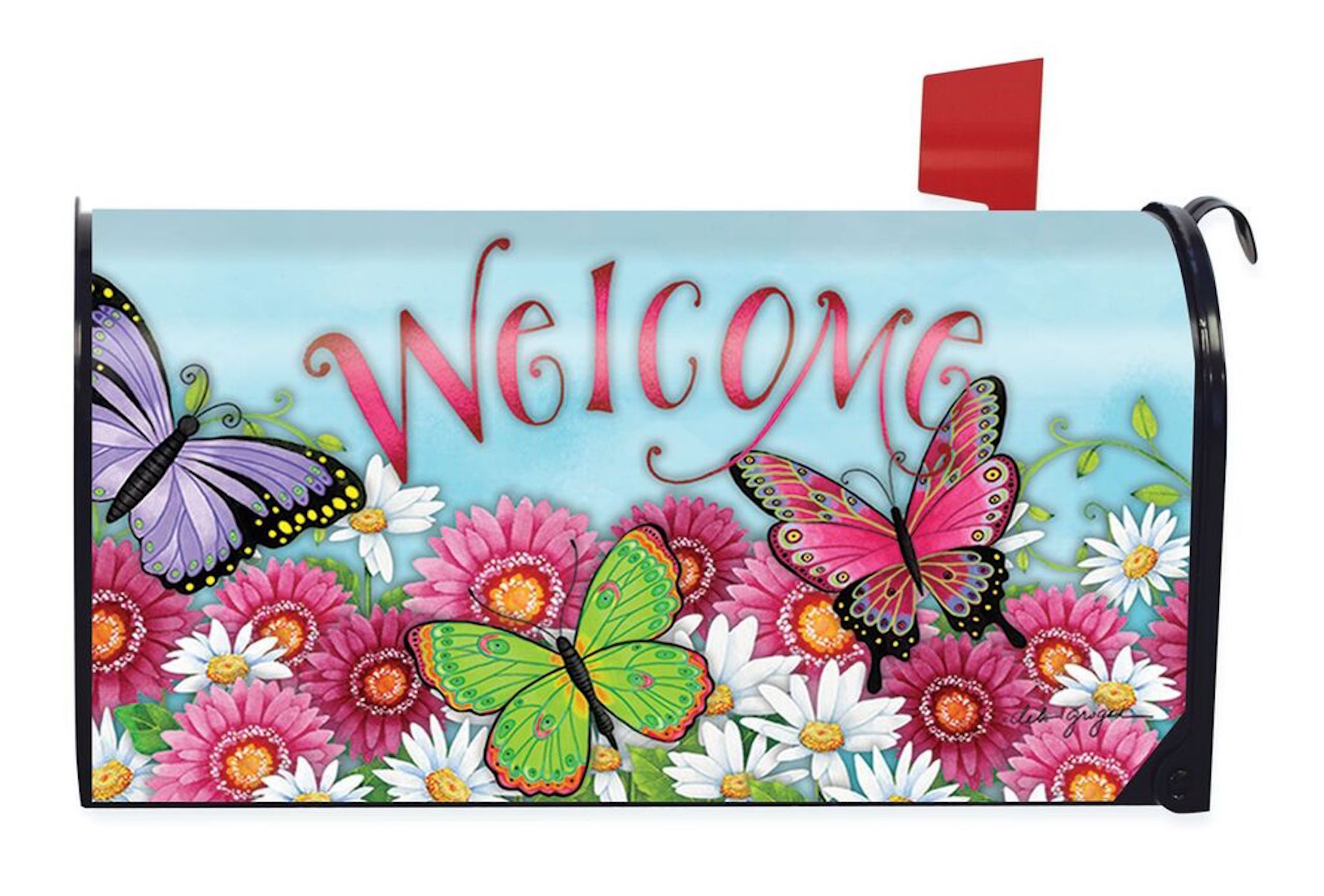 Butterfly Welcome Spring Magnetic Mailbox Cover Floral Briarwood Lane Standard by
