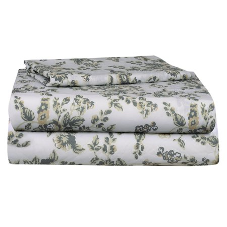 Auraa Essentials 144 TC 100% Cotton Percale Print 3 PC Twin Sheet Set