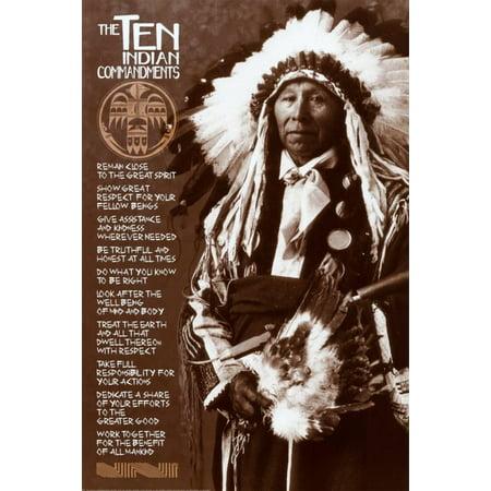 The Ten Indian Commandments Poster - 24x36 - Ten Commandments Poster