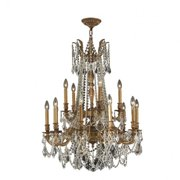 "Windsor Collection 15 Light French Gold Finish and Clear Crystal Chandelier 28"" D x 36"" H Two 2 Tier Large"
