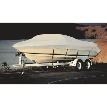 Taylor Acrylic Coated Polyester Gray Hot Shot Fabric BoatGuard Boat Cover with Storage Bag and Tie-Downs, Fits 17' to 19' Tournament Style Bass, Up to 96