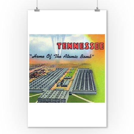 Oak Ridge, Tennessee - Home of the Atomic Bomb, Large Letters (9x12 Art Print, Wall Decor Travel - Ridge Large Wall
