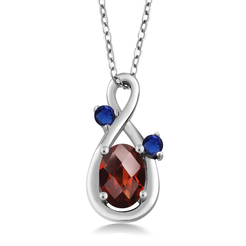 0.90 Ct Oval Checkerboard Red Garnet Blue Simulated Sapphire 18K White Gold Pendant