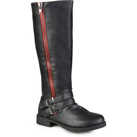 Womens Wide-Calf Knee-High Side-Zipper Buckle Riding