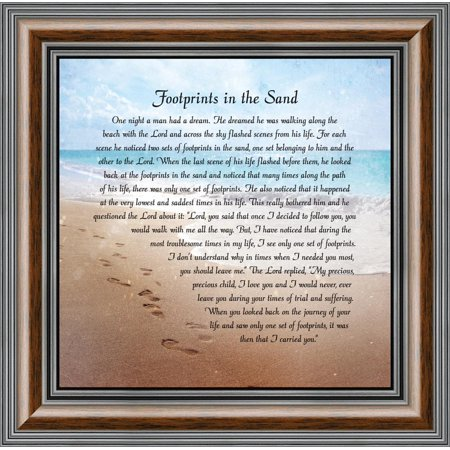 - footprints in the sand, religious gift for loved one, picture frame 10x10 8639