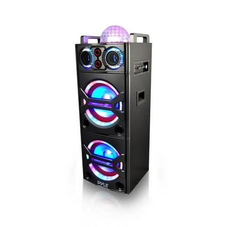 Wireless Battery Powered Pa System - Pyle PSUFM1043BT - Bluetooth PA Loudspeaker Karaoke Entertainment System, Active Powered Speaker, Flashing DJ Party Lights, MP3/USB/SD, FM Radio, Wireless Mic