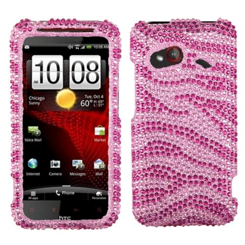 Insten Zebra Skin (Pink/Hot Pink) Diamante Case for HTC: ADR6410 (INCREDIBLE 4G LTE)