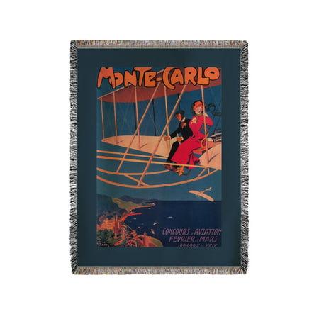 Monte Carlo, Monaco - Aviation Sporting Poster - Vintage Travel Poster (60x80 Woven Chenille Yarn Blanket)