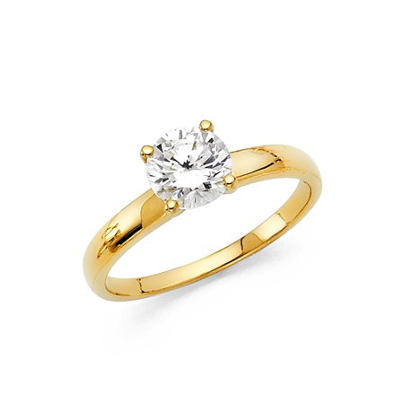 - 14K Solid Yellow Gold Round Brilliant Cut Solitaire Cubic Zirconia Engagement Wedding Ring , Size 4