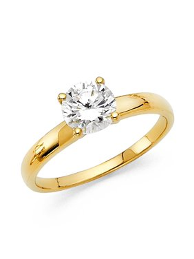 14K Solid Yellow Gold Round Brilliant Cut Solitaire Cubic Zirconia Engagement Wedding Ring , Size 4