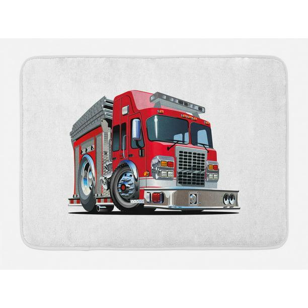 Bath Mat Cartoon Style Red Fire Truck