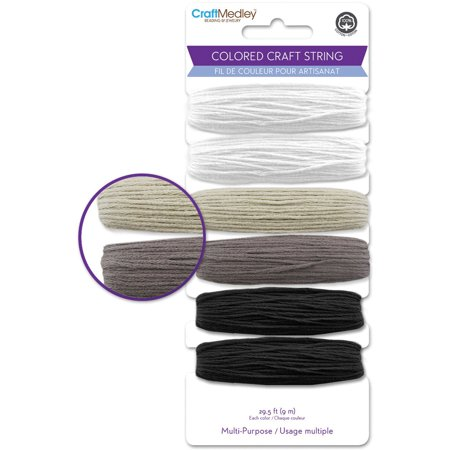 Colored Paper String (Mulitpurpose Colored Craft String 29.5'/Pkg-Black & White)
