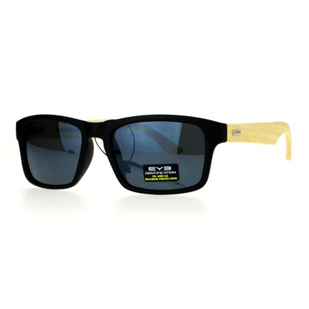 SA106 Mirrored Lens Bamboo Arm Narrow Rectangular Horned Sunglasses All (Bamboo Sunglasses)