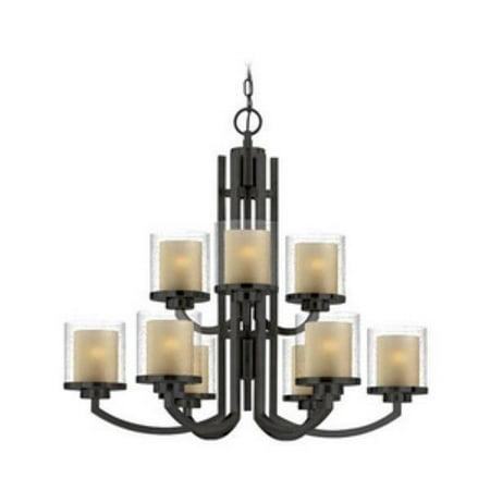 Dolan Designs Horizon - Nine Light 2-Tier Chandelier, Bolivian Bronze Finish with Clear Seedy/Honey Amber Glass