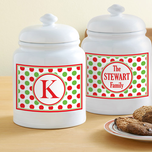 Personalized Holiday Treat Jar, Dots, Family Name