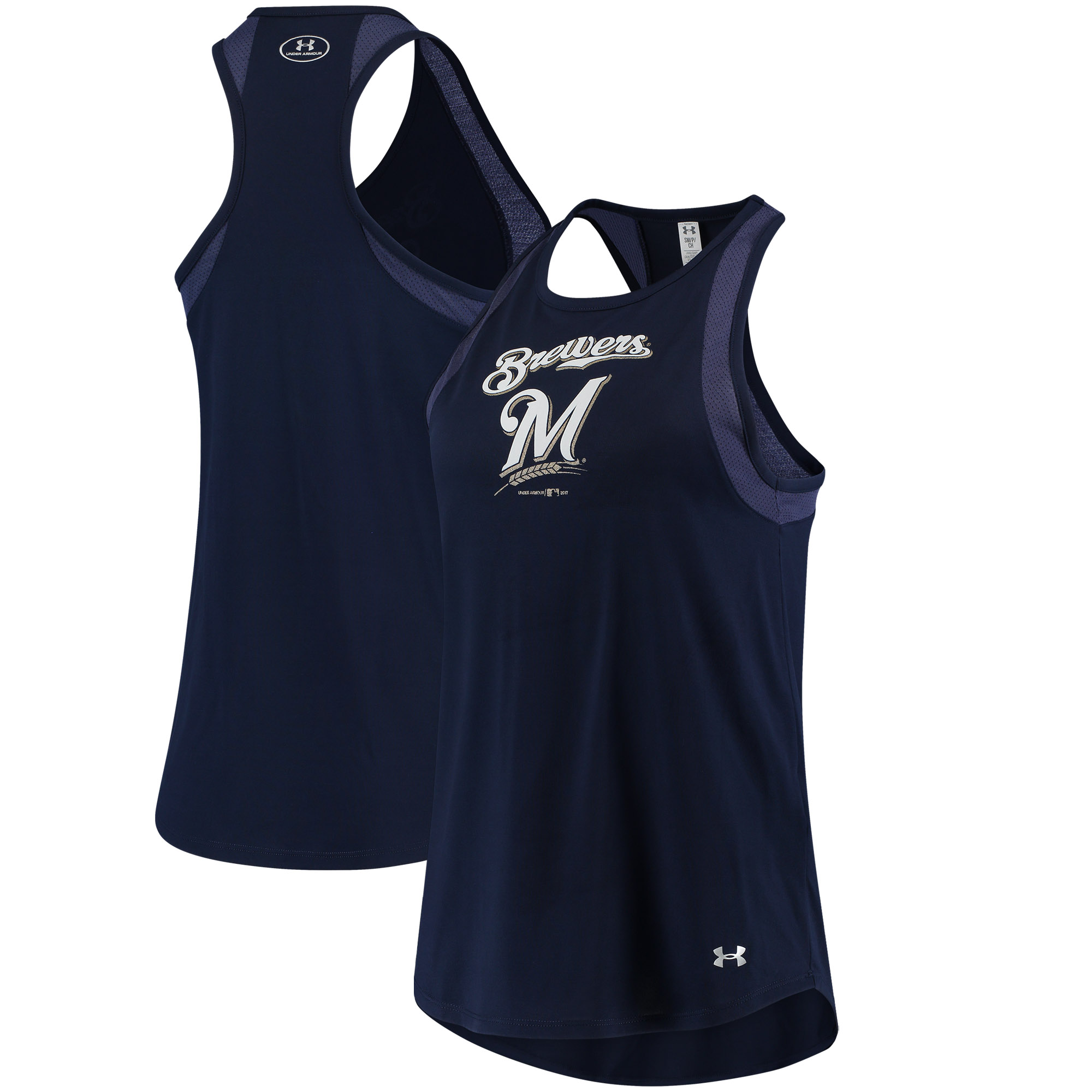 Milwaukee Brewers Under Armour Women's Pointelle Mesh Performance Tank Top Navy by Gear For Sports/Under Armour