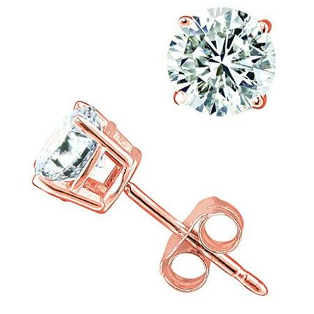 (0.04 carat) 14K Rose Gold Round Diamond Stud Earrings in I2