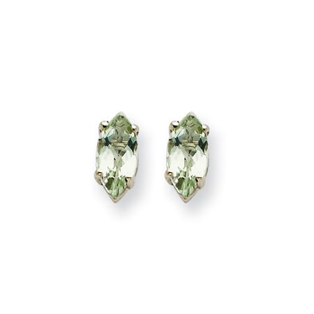 14k White Gold 6x3mm Marquise Green Amethyst Earrings ()