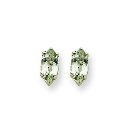 14k White Gold 6x3mm Marquise Green Amethyst Earrings