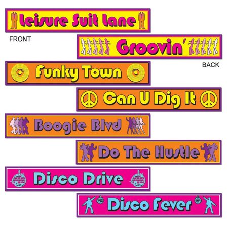 (Pack of 48) Disco Street Sign Cutouts 70's Theme for $<!---->