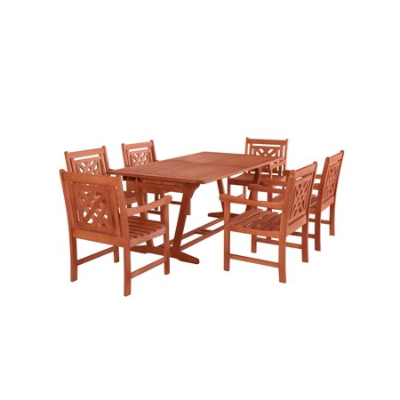 7-Piece Brown Natural Wood Finish Extendable Table Outdoor Furniture Patio Dining Set with Plaid Chairs 91