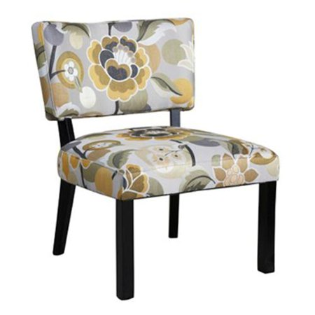 Oh Home Bianca Yellow And Gray Floral Accent Chair