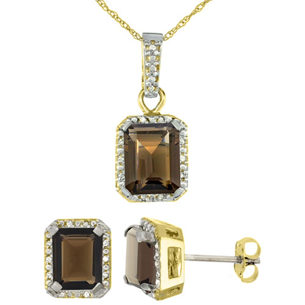 10K Yellow Gold Natural Octagon 8x6 mm Smoky Topaz Earrings & Pendant Set Diamond Accents by WorldJewels