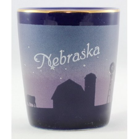 Nebraska Heartland Cobalt Blue Shot Glass