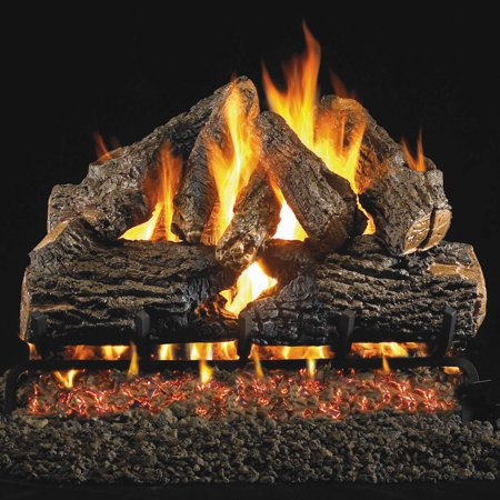 Peterson Real Fyre 30-inch Charred Oak Log Set With Vented Propane Ansi Certified G46 Burner - Variable Flame Remote