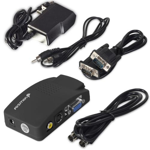 Fosmon TV Video to PC (Composite RCA / S-Video to VGA) Converter Box for Computers, Laptops, DVR / VCD / DVD Player