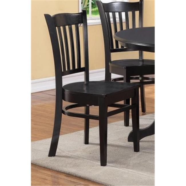 East West Furniture GRC-BLK-W Gronton Dining Chair with Wood Seat in Black Finish Pack of 2