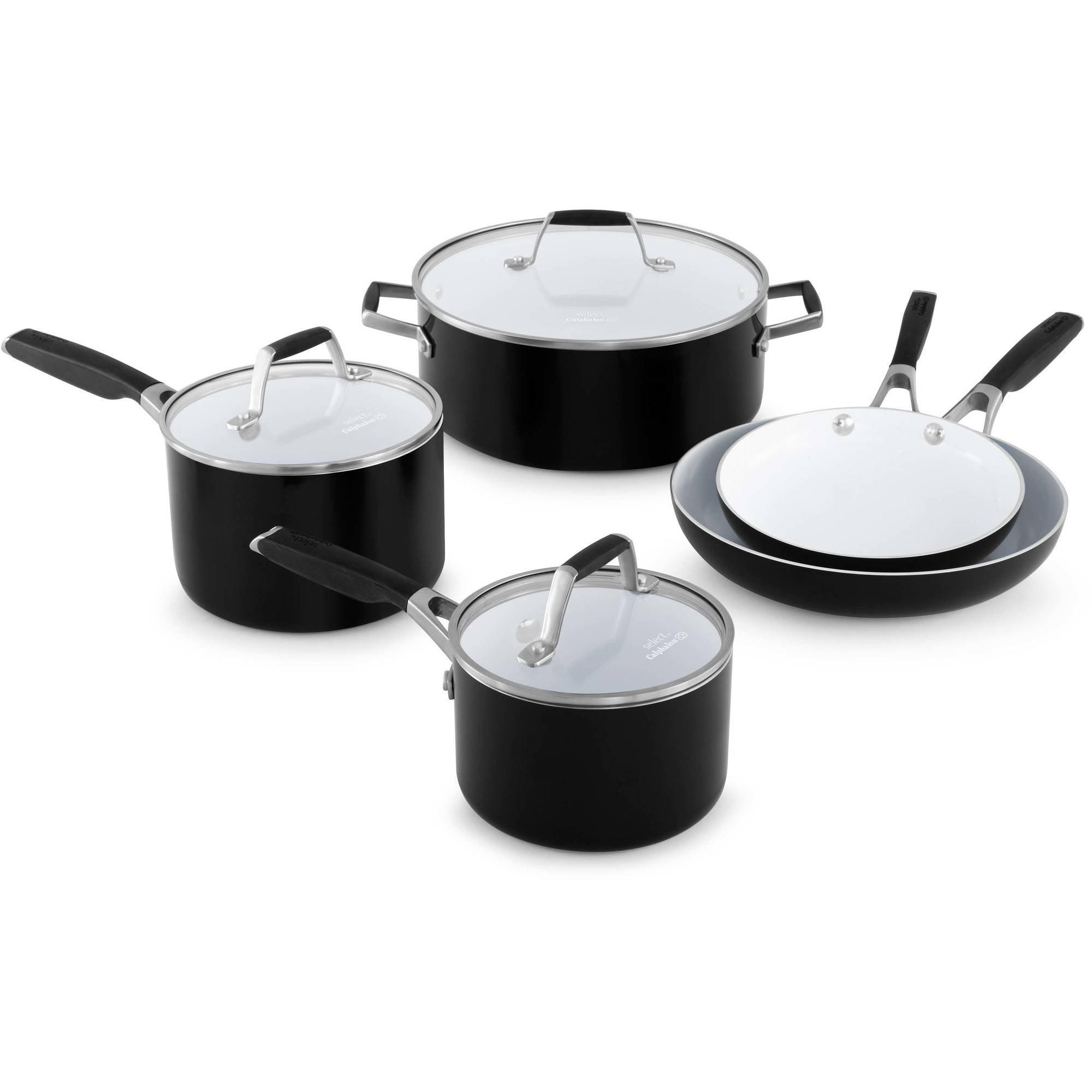 select by calphalon ceramic nonstick 8piece cookware set walmartcom