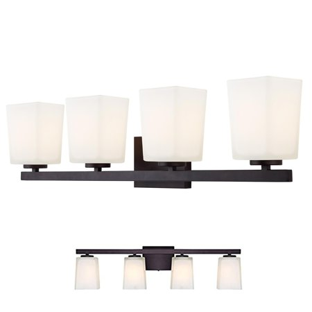 Oil Rubbed Bronze Vanity 4 Light Fixture Bathroom Bath Bar Flat Opal Glass Globes