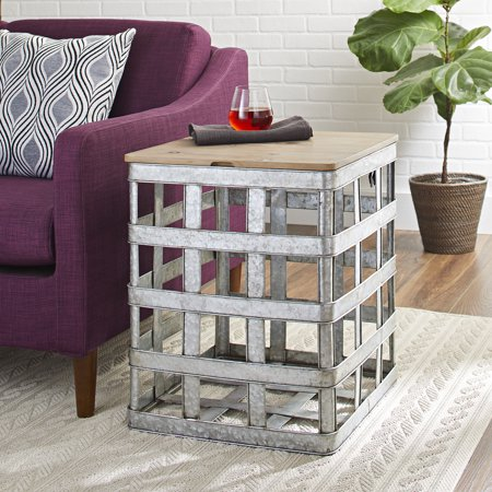 Better Homes and Gardens Wood & Galvanized Metal Lift Top Accent Table, Silver