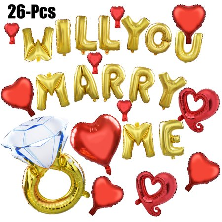 26Pcs Foil Balloons Romantic Will You Marry Me Letter Party Balloon Letter Balloon Set Party Supplies Decorations Wedding Accesories for Wedding Proposal - Big Balloons For Sale
