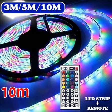 3/5/10M 3528 SMD RGB 600 LED Strip Rope light Flexible string tape Lighting Waterproof +44 Key IR remote control Indoors Halloween Christmas Decoration 3528 Smd Led Strip
