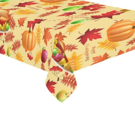 MYPOP Happy Thanksgiving Day Turkey Tablecloth 60x104 Inches, Fall Red Leaves Tablecover Desk Table Cloth Cover for Party Decor ()