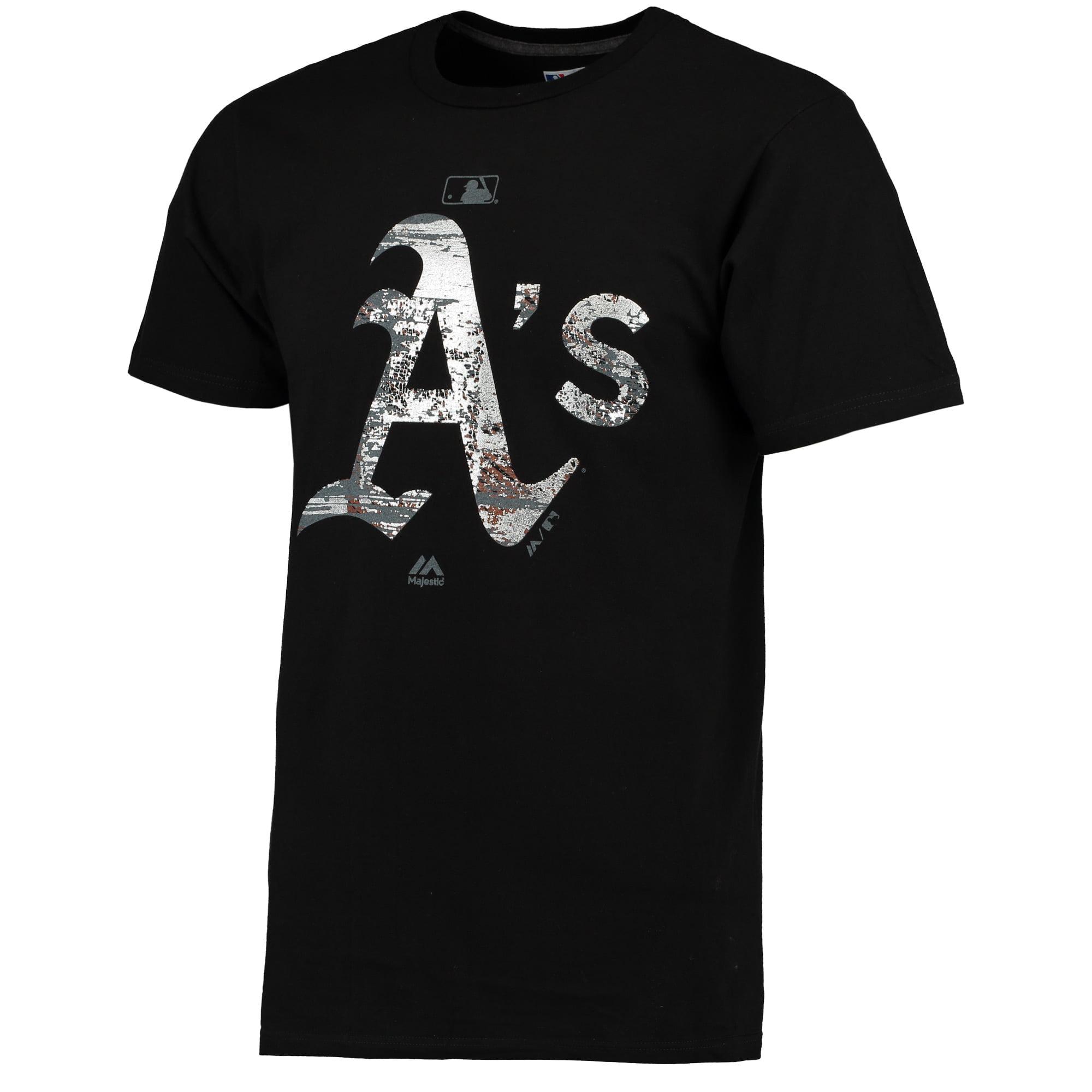 Oakland Athletics Majestic Authentic Collection Clubhouse Fashion Foil T-Shirt - Black