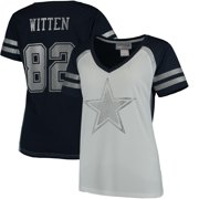 Jason Witten Dallas Cowboys Women's Player Name & Number V-Neck T-Shirt - White/Navy
