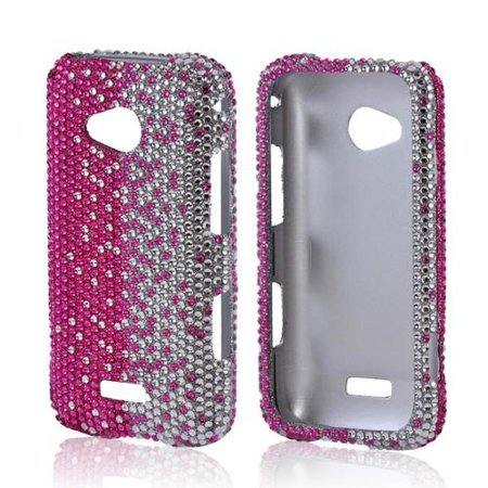 (Hot Pink/ Silver Gems Bling Samsung Galaxy Victory 4G LTE Hard Case Cover; Fashion Jeweled Snap-On Plastic Case)