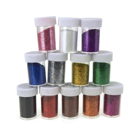 Fine Glitter in Plastic Bottle, 0.6 Ounce, 12-Piece, (Heavy Multi Glitter)