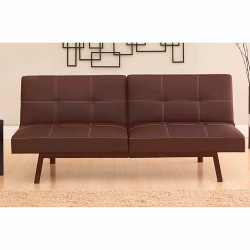 Convertible Sleeper Splitback Futon Sofa Bed Contemporary Couch Furniture Brown