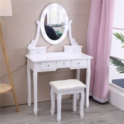 Winado Vanity Dressing Table Set with Lighted Makeup Mirror,White