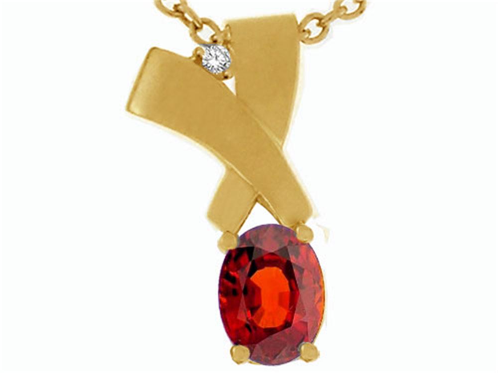 Tommaso Design Oval 7x5mm Genuine Garnet Pendant Necklace by