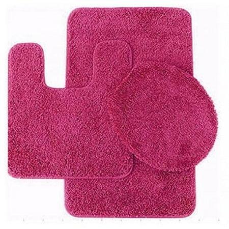 3 Pc HOT PINK Bathroom Set Bath Mat RUG, Contour, and Toilet Lid Cover