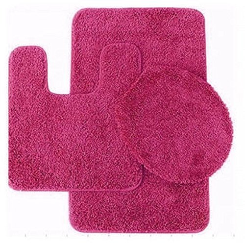 3 Pc HOT PINK Bathroom Set Bath Mat RUG, Contour, And Toilet Lid Cover